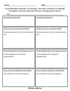 Graphic Organizer RL3.3 Describing Characters