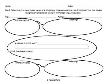 Graphic Organizer RL4.4 Words & Phrases