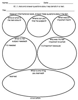 Graphic Organizer Ri1.1 Answering Questions