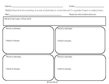 Graphic Organizer Ri2.4 Words & Phrases
