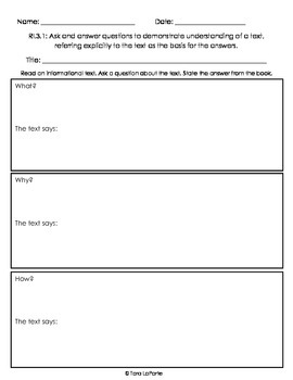 Graphic Organizer Ri3.1 Asking Questions