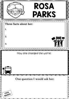 Graphic Organizer : Rosa Parks, Black History