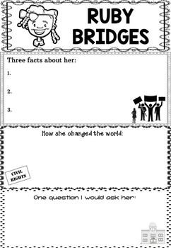 Graphic Organizer : Ruby Bridges, Black History Month