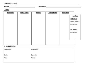 Graphic Organizer - Short Story