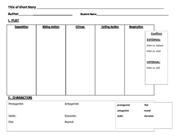 """Graphic Organizer - Short Story (""""The Scarlet Ibis"""" by James Hurst)"""