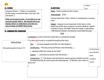 "Graphic Organizer - Short Story (""The Scarlet Ibis"" by James Hurst)"