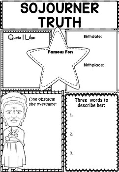 Graphic Organizer : Sojourner Truth - Inspiring African American Figures