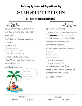 Graphic Organizer - Solving Systems of Equations by Substitution