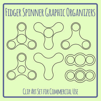 Graphic Organizer Template - Blank Fidget Spinner Oultines Clip Art