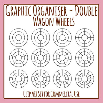Graphic Organizer Template - Double Wagon Wheel Clip Art Set Commercial Use