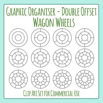 Graphic Organizer Template - Double Wagon Wheel Offset Clip Art