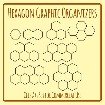 Graphic Organizer Template - Hexagon Sets Clip Art for Commercial Use