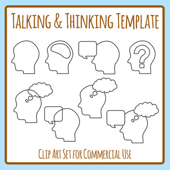 Graphic Organizer Template - Talking and Thinking Clip Art Set Commercial Use