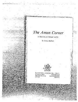 Graphic Organizer The Amen Corner, James Baldwin Play