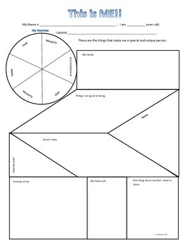 """Graphic Organizer """"This Is Who I Am"""" Self-Esteem Career Goal Setting"""