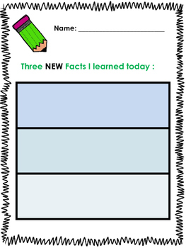 Graphic Organizer - Three New Facts
