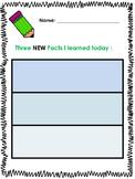 Graphic Organizer - Three New Facts