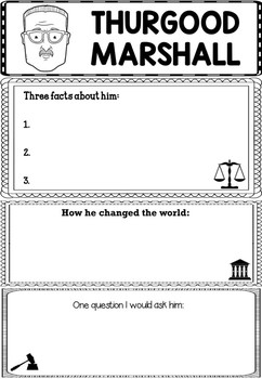 Graphic Organizer : Thurgood Marshall -  Inspiring African American Figures