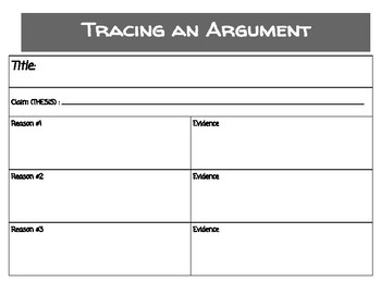 Graphic Organizer- Tracing an Argument