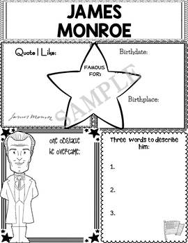 Graphic Organizer : US Presidents - James Monroe, American President 5
