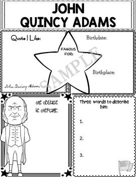 Graphic Organizer : US Presidents - John Quincy Adams, American President 6