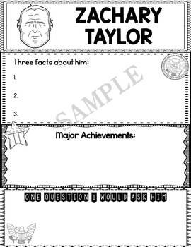 Graphic Organizer : US Presidents - Zachary Taylor, American President 12