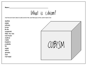 graphic organizer what is cubism by purple paintbrush tpt. Black Bedroom Furniture Sets. Home Design Ideas
