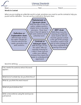 Graphic Organizer: Words in Context