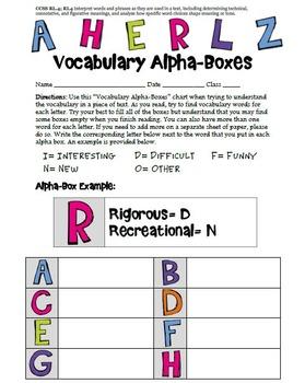 Graphic Organizer Vocabulary