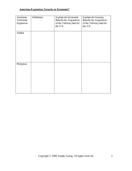 GRAPHIC ORGANIZER-American Expansion-For Economic or Security Reasons