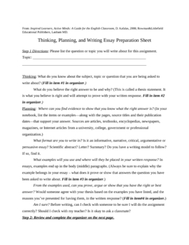 Graphic Organizer and Directions for Writing Essays or Lab Reports