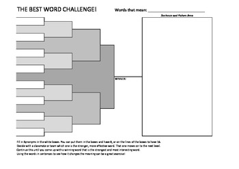 Graphic Organizer - March Madness championship bracket vocabulary organizer