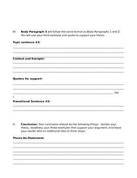 Graphic Organizer for Analytical Essay