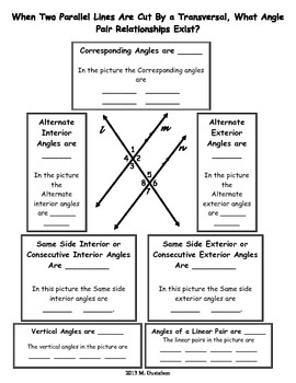 Graphic Organizer for Angle Pairs