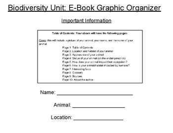 Graphic Organizer for Animal E-Book
