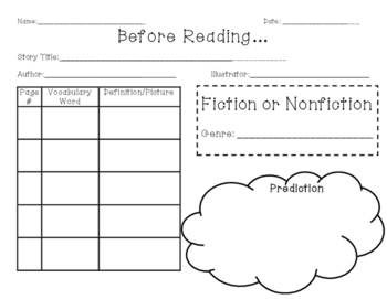 Graphic Organizer for Before and After Reading - Informational/Expository Text