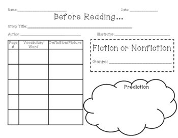 Graphic Organizer for Before and After Reading - Literature