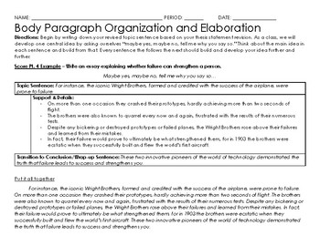 Graphic Organizer for Body Paragraphs