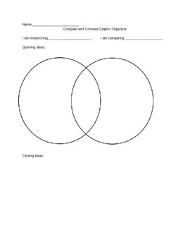 Graphic Organizer for Compare Contrast Essay