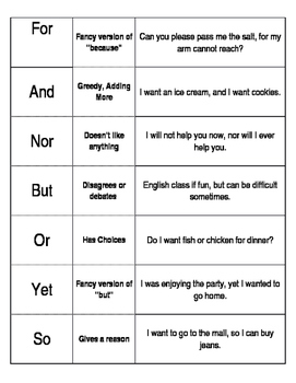 Graphic Organizer for Coordinating Conjunctions