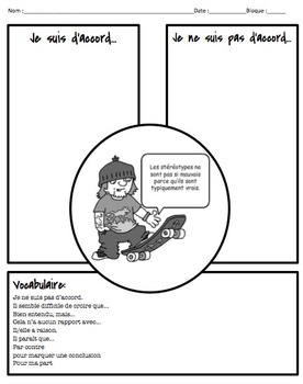Graphic Organizer for Debate in French: Stereotpyes