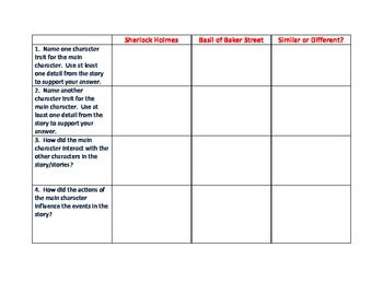Graphic Organizer for Disney's The Great Mouse Detective