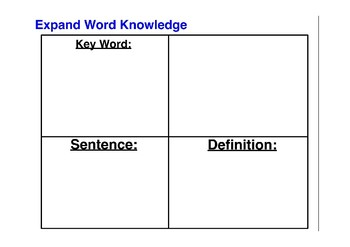 Graphic Organizer for Expanding Word Knowledge