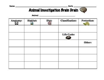 Graphic Organizer for First or Second Grade Animal Classification Unit