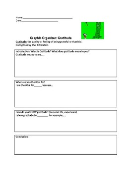 "Graphic Organizer for Gratitude using the book ""The Giving Tree"""