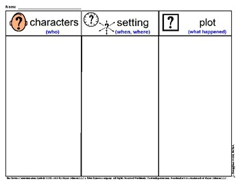Graphic Organizer for Literary Elements (w/ picture symbols)