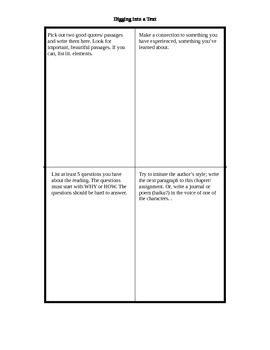Graphic Organizer for Literary Essay
