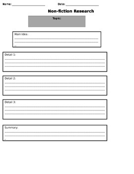 Graphic Organizer for Non-fiction Research