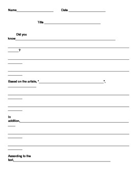 Graphic Organizer for One Paragraph Informational Writing