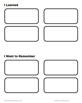 Graphic Organizer for Reflecting on Learning
